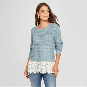 Knox Rose Lace & Knit Twofer Sweater